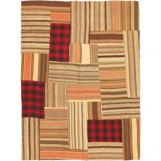 eCarpetGallery Bohemian Handmade Beige Wool Kilim (4'10 x 6'5)
