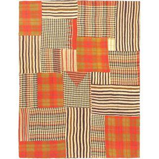 eCarpetGallery Kilim Blue/Red/White Wool Bohemian Rug (4'11 x 6'5)