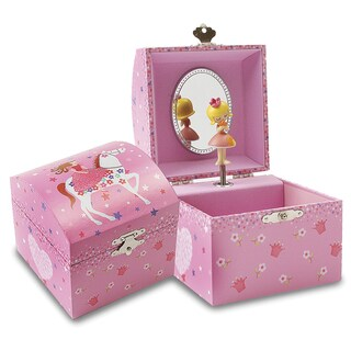 Versil Pink Princess on Horseback Musical Jewelry Chest