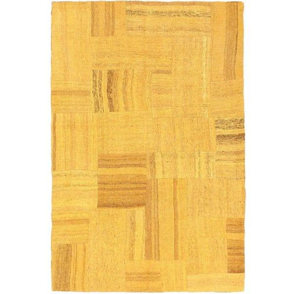 eCarpetGallery Bohemian Handmade Orange Wool Kilim Rug