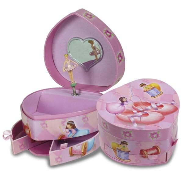 Versil Ballerina Heart Pink Plastic & Fabric Musical Jewelry Box