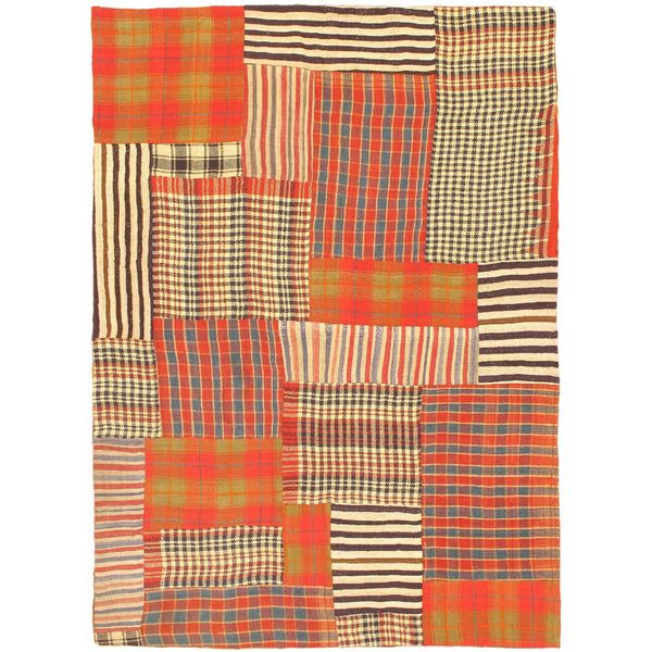 eCarpetGallery Bohemian Beige/Red Wool Handmade Kilim Rug - 4'9 x 6'8