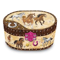 Versil Dashing Horses Fabric & Plastic Oval Musical Jewelry Box