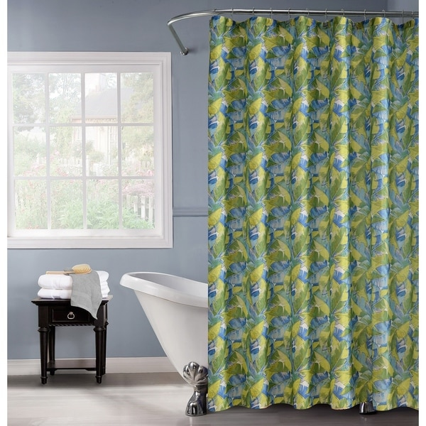 Lurex Polyester Palm Leaf 13-Piece Shower Curtain & Hooks Set