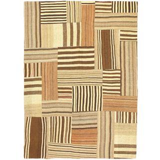 eCarpetGallery Handmade Bohemian Beige/Brown Wool Kilim Rug (5' 7 x 7' 10)