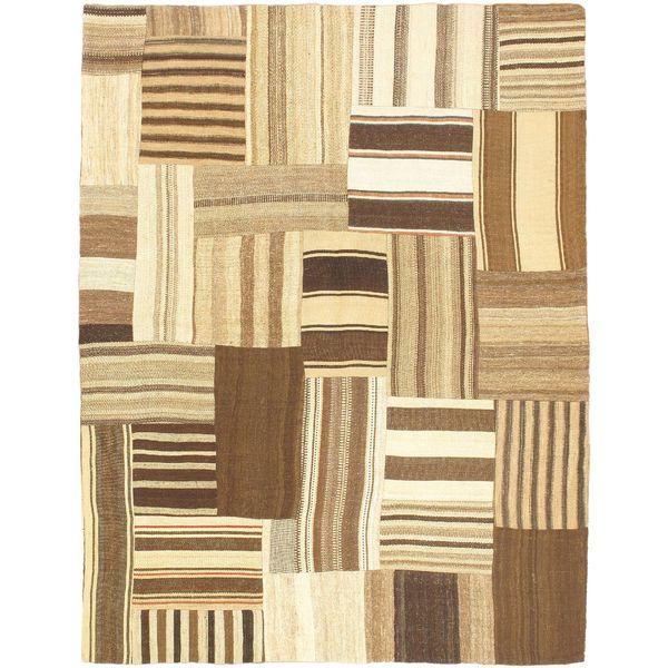 eCarpetGallery Bohemian Hand-made Beige/Brown Wool Kilim (5'2 x 6'7)