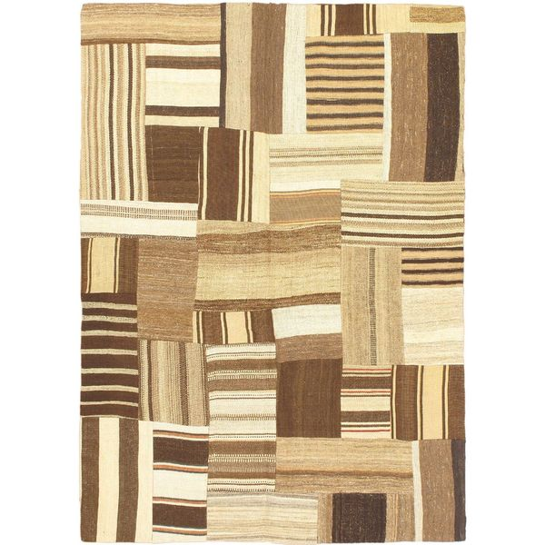 eCarpetGallery Bohemian Beige/Brown Handmade Wool Kilim (4'10 x 6'9)