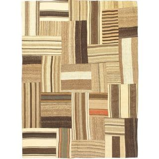 eCarpetGallery Bohemian Handmade Beige Wool Kilim (4'11 x 6'9)