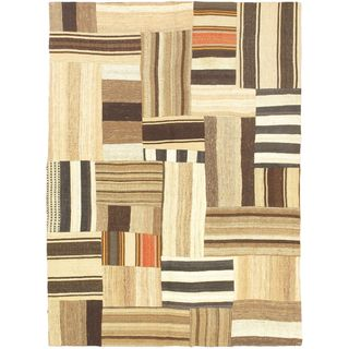 eCarpetGallery Bohemian Hand-made Beige Wool Kilim (4'9 x 6'6)