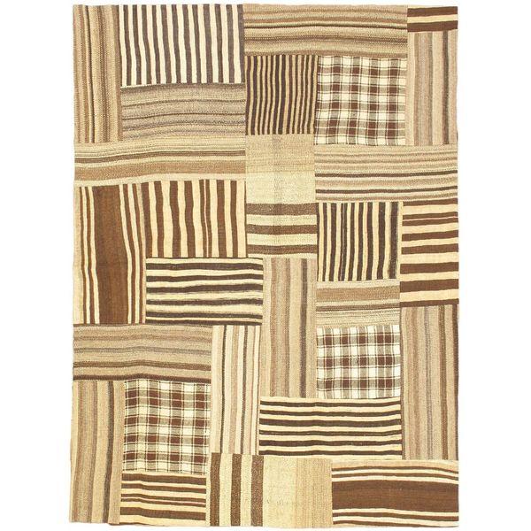 eCarpetGallery Bohemian Beige/Brown Wool Hand-made Kilim Rug (5'11 x 8'0)