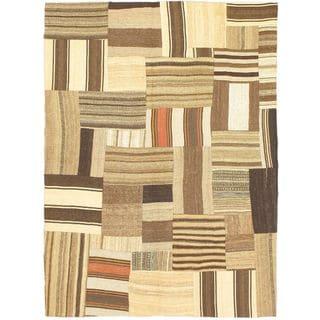 eCarpetGallery Bohemian Beige/Brown Wool Handmade Kilim (4'11 x 6'8)