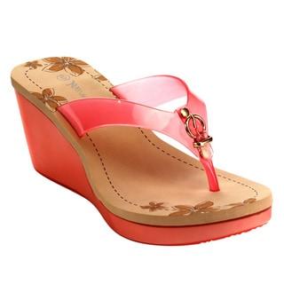 Beston Women's PVC Open-toe Jelly Wedge Sandals
