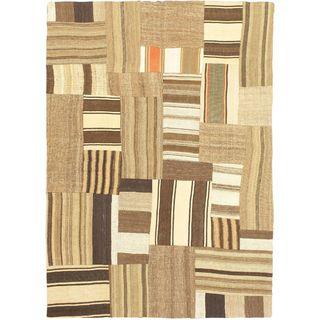eCarpetGallery Bohemian Beige/Brown Wool Handmade Kilim (4'8 x 6'7)