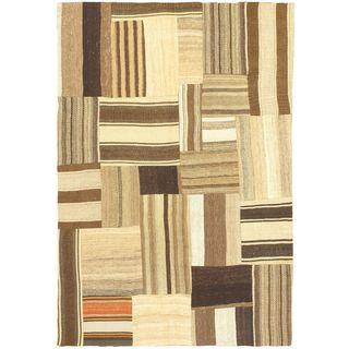 eCarpetGallery Bohemian Hand-made Beige/Brown Wool Kilim (4'6 x 6'5)