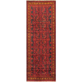 eCarpetGallery Nahavand Black/Multicolored/Red Wool Hand-knotted Rug (3'8 x 12'10)