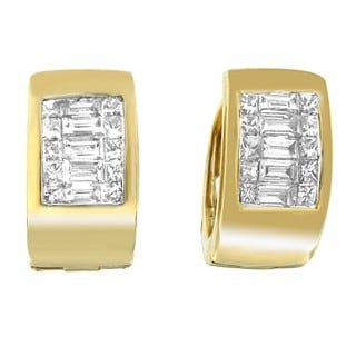 14k Yellow Gold 1/2ct TDW Princess and Baguette-cut Diamond Small Hoop Earrings (H-I,SI1-SI2)