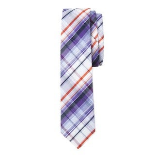 Trendster Men's Blue/Off-white Cotton Plaid Neck Tie