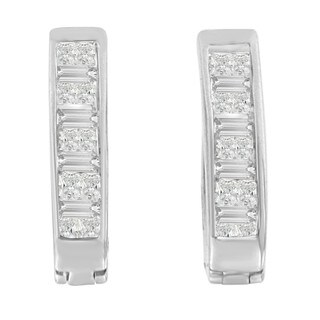 14k White Gold 1/2ct TDW Princess and Baguette-cut Diamond Earrings (H-I,SI1-SI2)