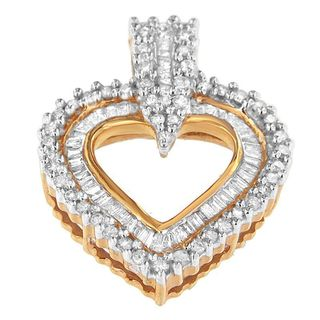 10k Yellow Gold 1ct TDW Round and Baguette-cut Diamond Pendant (H-I, I2-I3)