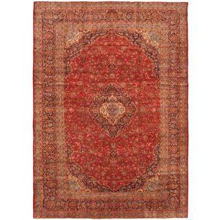 eCarpetGallery Kashan Blue/Red Hand-knotted Kashan Wool Rug (9'7 x 13'9)
