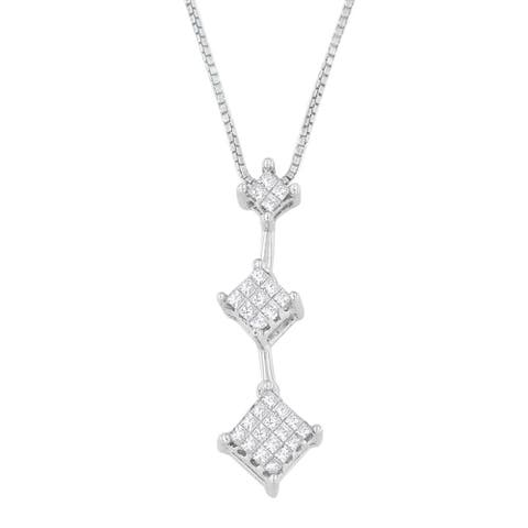 14k White Gold 1/4ct TDW Princess-cut Diamond Pendant Necklace (H-I, SI1-SI2)