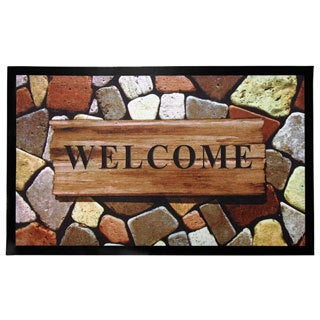 Home Fashion Designs Weaver Collection Stone-printed Rubber Indoor/Outdoor Non-slip Welcome Mat