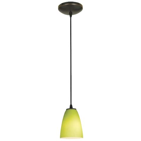 Access Lighting Flute Bronze Integrated LED Cord Pendant, Lime Green Shade