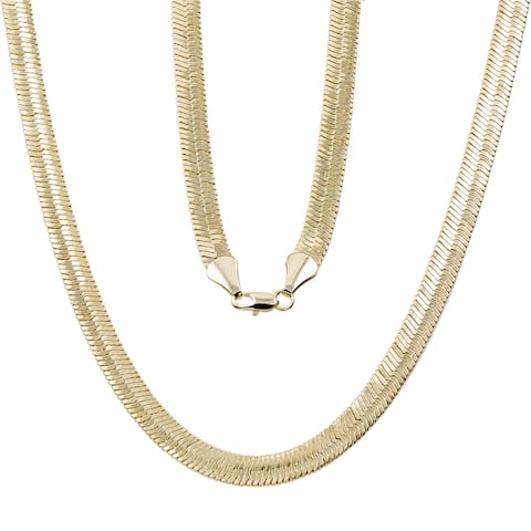 10mm Yellow Gold or Silver Overlay Herringbone Chain by Simon Frank Designs