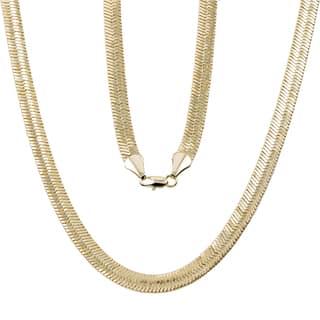Simon Frank 10mm 14k Yellow Gold or Silver Overlay Herringbone Chain|https://ak1.ostkcdn.com/images/products/11854181/P18755029.jpg?impolicy=medium