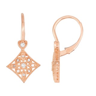Gioelli 10k Rose Gold 1/6ct TDW Diamond Square Leverback Earrings