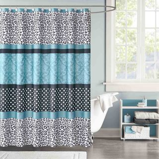 Mi Zone Camille Teal Microfiber Shower Curtain