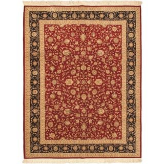 eCarpetGallery Sino Persian Hand-knotted Black/Red Wool Rug (9' x 12')