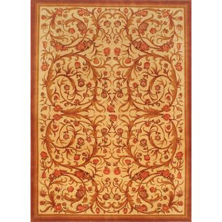 eCarpetGallery Savonnerie Hand-knotted Beige/Brown Wool Rug (8'4 x 11'5)