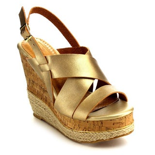 Andrews And Son Women's Beston Faux Leather Strappy Wedge Sandal
