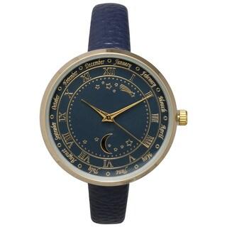 Olivia Pratt Women's Astronomical Wonders Genuine Leather Watch
