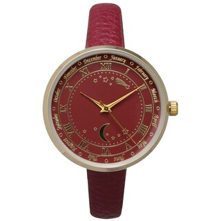 Olivia Pratt Women's Astronomical Wonders Genuine Leather Watch (Option: Red)