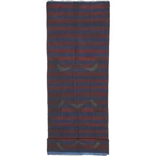 eCarpetGallery Hand-knotted Color Transition Blue/Red Wool Kilim (4'3 x 13'2)