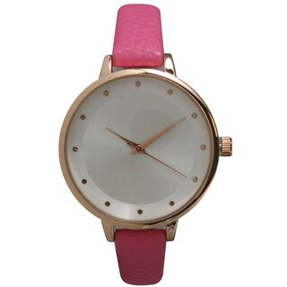 Olivia Pratt Women S Genuine Pink Leather Watch