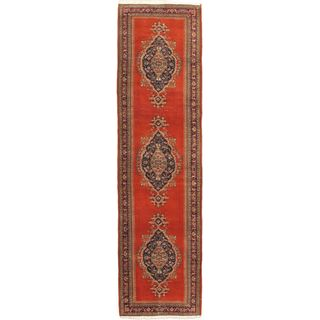 eCarpetGallery Antique Anatolian Blue/Brown Wool Hand-knotted Rug (2'11 x 9'10)