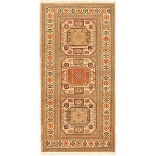 eCarpetGallery Hand-Knotted Antique Anatolian Brown Geometric Pattern Wool Rug (3'1 x 6'3)