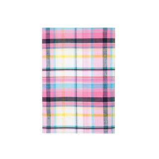 Pink and Off-white Plaid Pocket Square