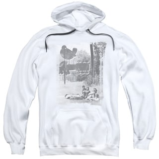 Woodstock/Hippies in A Field Adult Pull-Over Hoodie in White