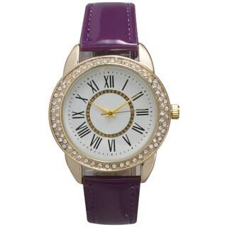 Olivia Pratt Women's Rhinestone Bezel Patent Leather Watch