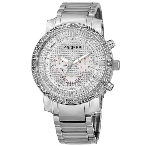 Akribos XXIV Men's Swiss Quartz Dazzling Retrograde Dual-Time Stainless Steel Bracelet Watch - silver