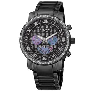 Akribos XXIV Men's Swiss Quartz Dazzling Retrograde Dual-Time Stainless Steel Bracelet Watch