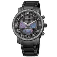 Akribos XXIV Men's Swiss Quartz Dazzling Retrograde Dual-Time Stainless Steel Bracelet Watch - black