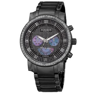 Akribos XXIV Men's Swiss Quartz Dazzling Retrograde Dual-Time Stainless Steel Bracelet Watch - black