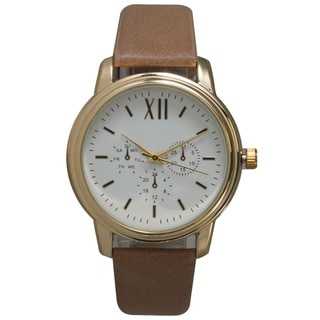 Classic Women's Round Leather Chronograph Watch