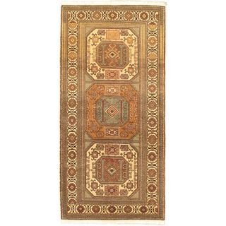 eCarpetGallery Antique Anatolian Cream/Khaki/Aqua/Black/Brown/Copper Wool and Cotton Rug (3'3 x 6'7)