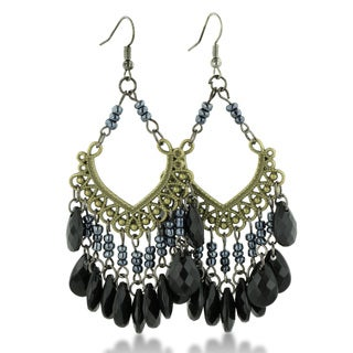 Adoriana Black Faceted Beaded Gold Tone 3 Inch Chandelier Earrings